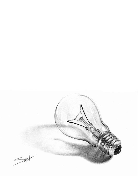 LIGHT BULB DRAWING still life art office decor por SignedSweet