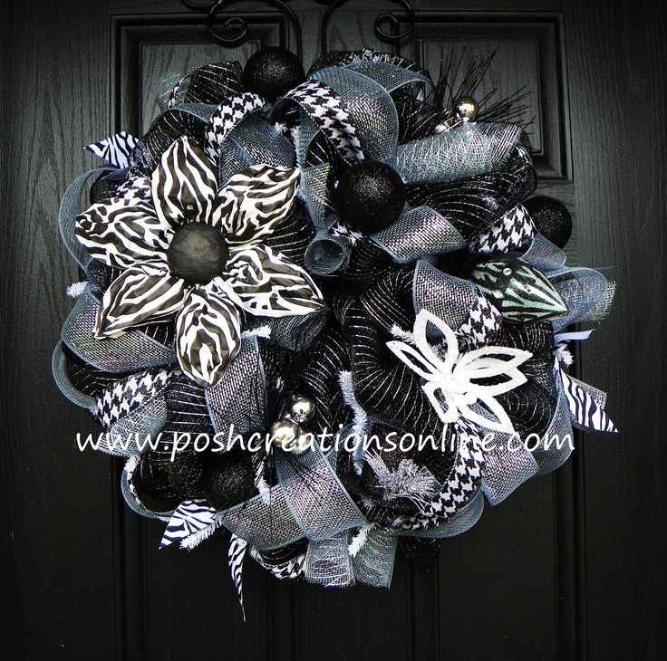 black white silver zebra christmas mesh by poshcreationsky - Christmas Zebra Decorations