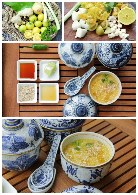 Tangy yellow tomato soup with an Asian twist. - Gul tomatsoppa med asiatiska smaker.