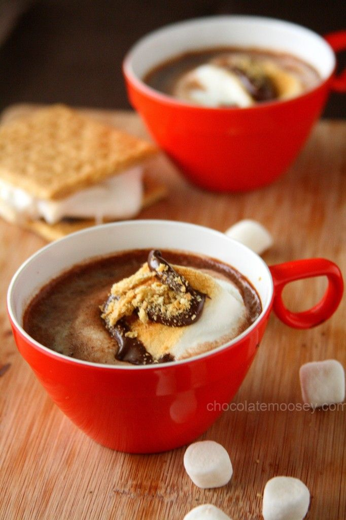 Smores Hot Cocoa with toasted marshmallow and cookie butter melted into the chocolate