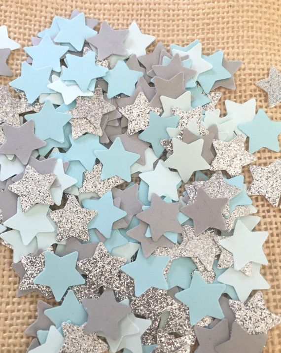 Use this twinkle twinkle little star baby blue, blue, gray and silver glitter confetti to decorate tables, stuff invitations, and more! Perfect for baby showers and birthday parties There are million of ways to use this confetti, and all of them are sure to bring a lot of sparkle and fun to whatever the occasion might be! Quantity: 150 pieces of hand punched confetti Size: 5/8 stars Color: baby blue, blue, gray, silver glitter (white on the back) Please note that silver glitter stars are…