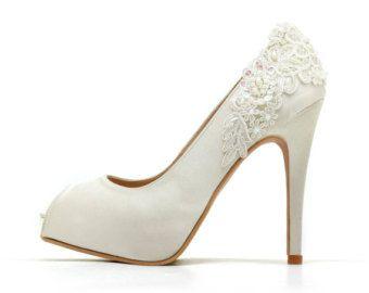 Lorena V3 pizzo avorio da sposa tacchi tacchi di ChristyNgShoes