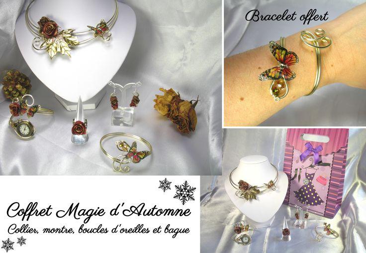 Coffret Magie d'automne Collier, bracelet cadeau, boucles d'oreilles et étole