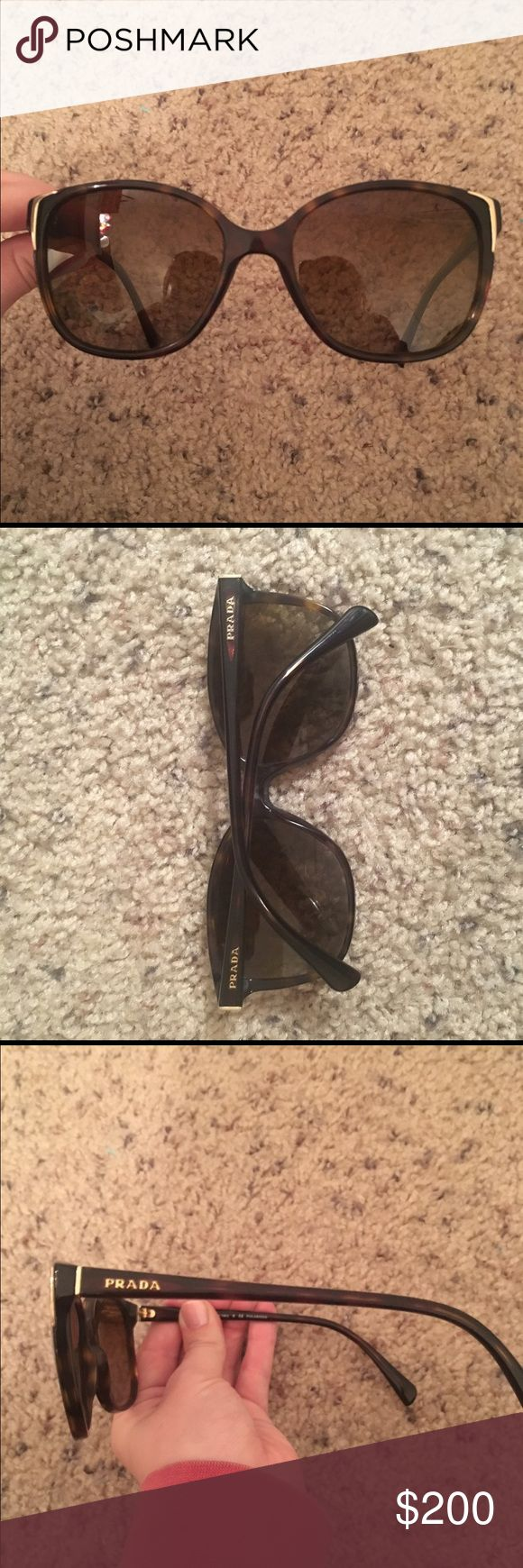 Prada Women's Sunglasses Prada women's butterfly style sunglasses- Tortoiseshell with gradient lens- UVA/UVB protection, polarized- great condition, only worn a few times Prada Accessories Sunglasses