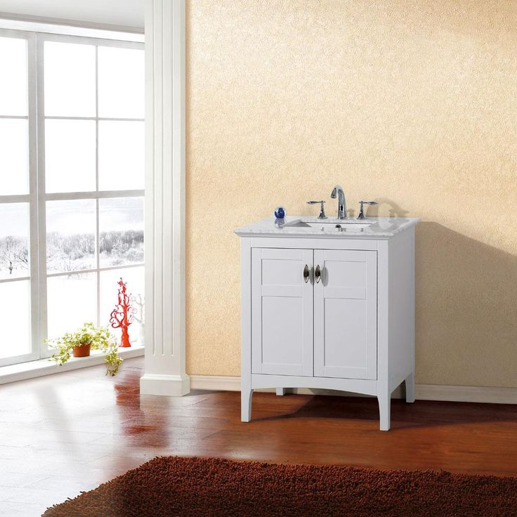 Bellaterra Home 30 inch Single Sink Vanity with Marble Top 7613-WH-WH