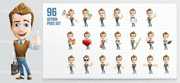 Male cartoon character presented in 96 poses and moods. #cartooncharacter #vectorcharacter #character