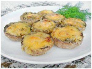 Горячая закуска из печеных в духовке шампиньонов с сыром   Застолье-онлайн