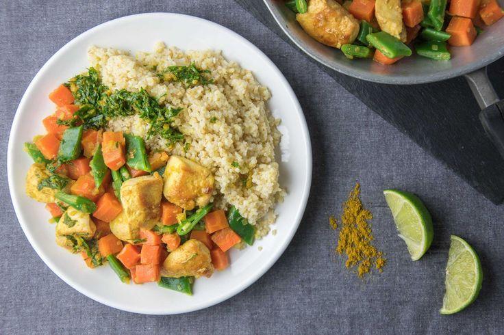Boulgour au poulet, légumes et chermoula