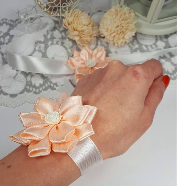 Salmon wedding wrist corsage bridesmaid corsage ribbon by Rocreanique on Etsy