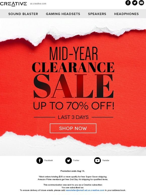 Mid-Year Clearance Sale - Last 3 Days! - Creative