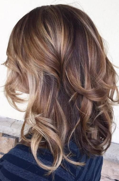 brown base with chunky caramel highlights with sprinkle of blonde highlights: balayage hair