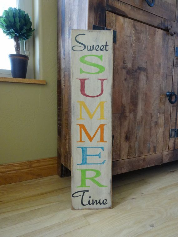 Sweet Summer Time sign. 6x26 hand painted wood sign/ Summer sign/ Front door vertical sign/ Outside patio sign/ Summer decor/ Vertical sign