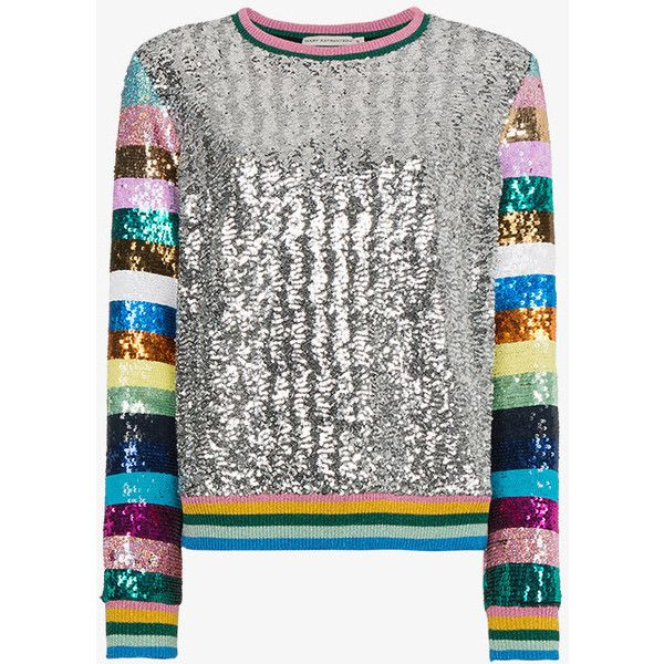 Mary Katrantzou Magpie Sequin Embellished Top ($1,705) ❤ liked on Polyvore featuring tops, long sleeve tops, stripe top, white striped top, metallic long sleeve top and multi color tops