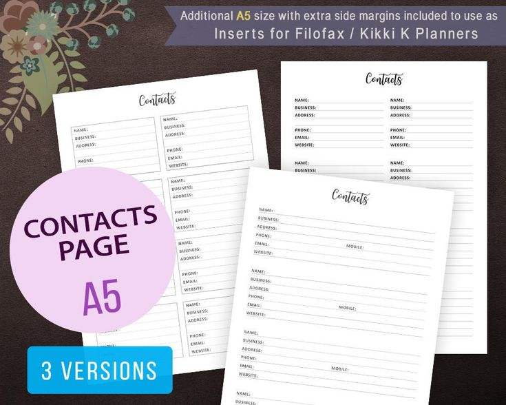 Contact Page #Printable, Contact Sheet, Address Book, Contact List, #Planner Inserts, Filofax #A5, Kikki K, Letter, Phone Numbers, Contact Book #digital #instantdownload #A5sizeplanner
