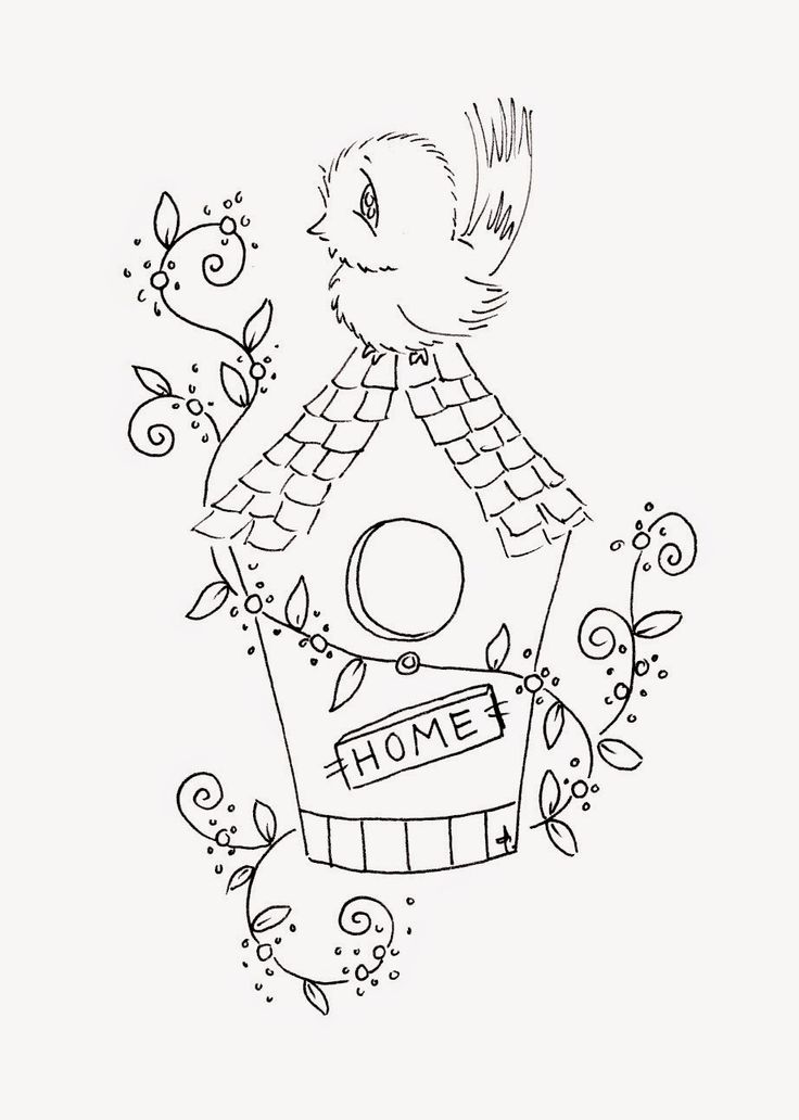 Sliekje Digi Stamps Spring Birds Bird HousesColoring BookDigital