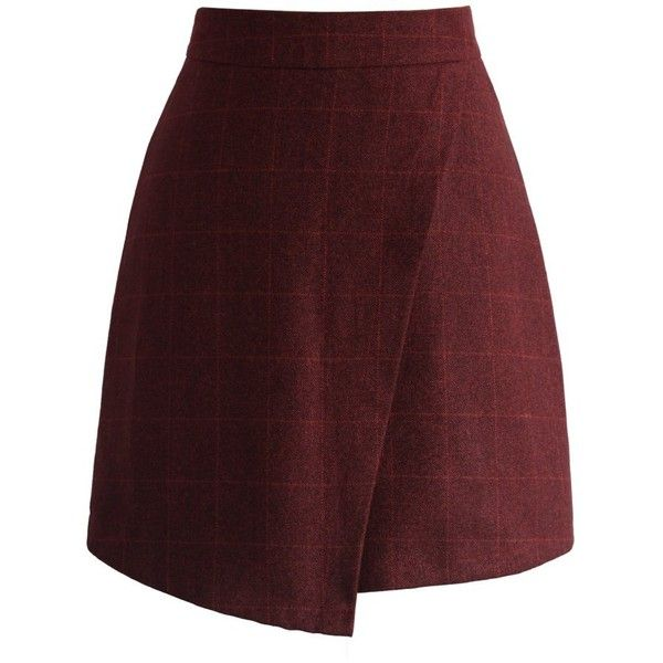 Chicwish Trendy Asymmetric Grid Skirt in Wine ($42) ❤ liked on Polyvore featuring skirts, red, red print skirt, red stripe skirt, pin stripe skirt, striped skirt and rayon skirt