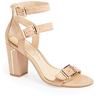 JESSICA SIMPSON Nude Julinda double ankle strap sandal natural found on NUDEVOTION #nudeheels #nudevotion