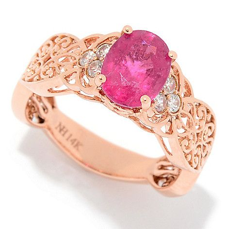 158-172 - Gems en Vogue 14K Rose Gold 1.18ctw Rubellite & White Zircon Scrollwork Ring