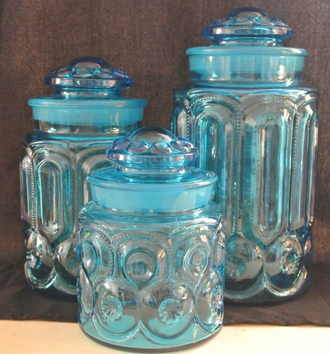 3 Vintage L E Smith Moon and Stars Blue Canisters | eBay