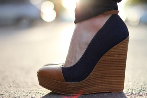 #shoes #footwear #wedges: Blue, Tans Wedges, Cute Wedges, Wedges Shoes, Denim, Closet, New Shoes, Summer Wedges, Shoes Shoes