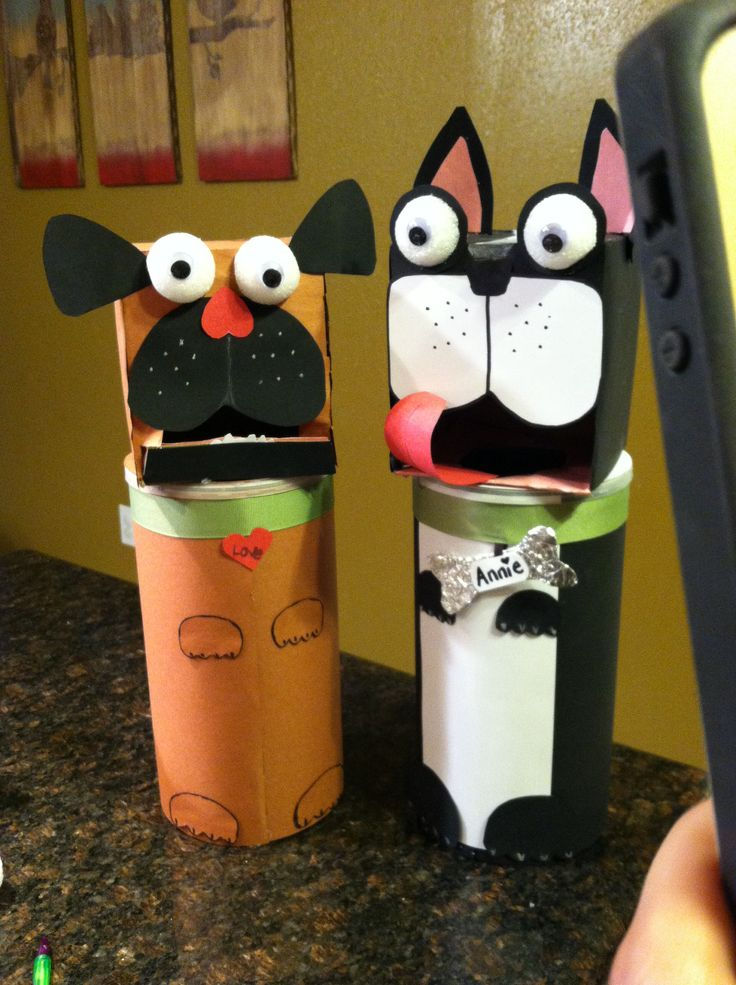 """Our """"feed the puppy dog"""" Valentines Day boxes for school! Pug and Boston Terrier mailbox after our own pets. The girls love them! @Beth Barnes @Sarah """"Grammy"""" Harris"""