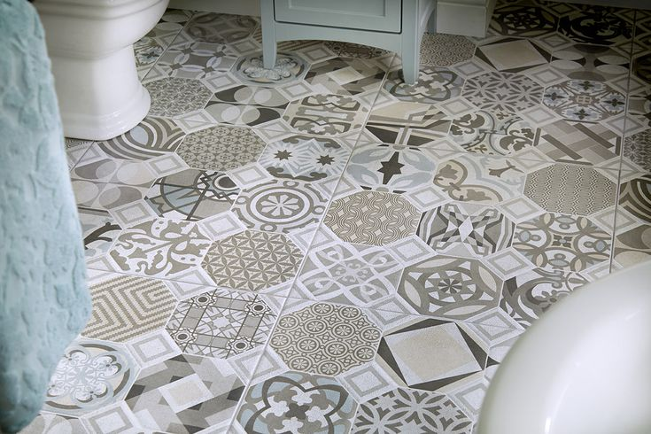 Bohemian blues bathroom floor #tiles