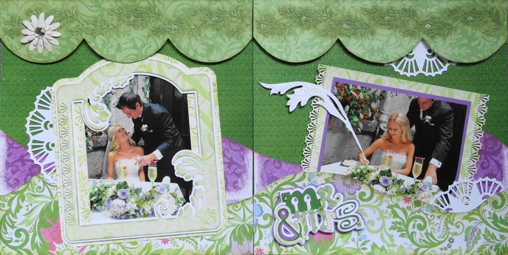 Scrapbook Page - Signing the Marriage Certificate - 2 page wedding layout with a feather pen and done with Kiwi Lane - from Wedding Album 4
