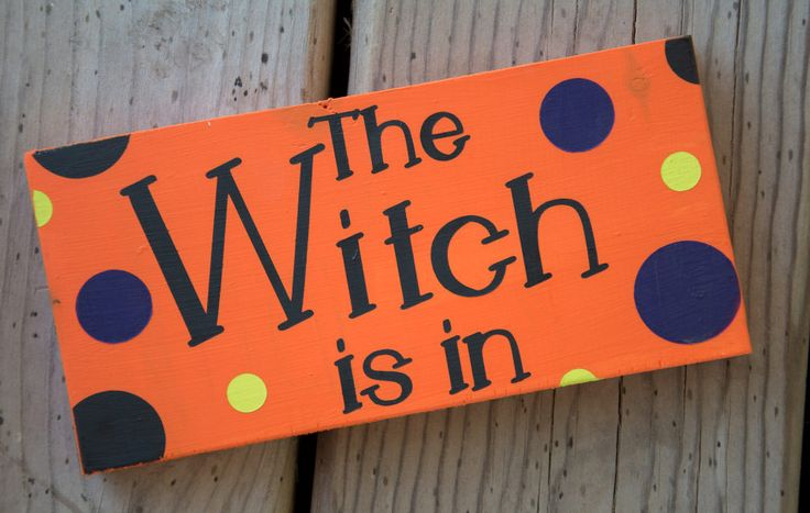 Witch is In, Witch is Out, Halloween Sign, Desk Sign, Halloween Desk Sign, Witch Sign by DusinDesigns on Etsy