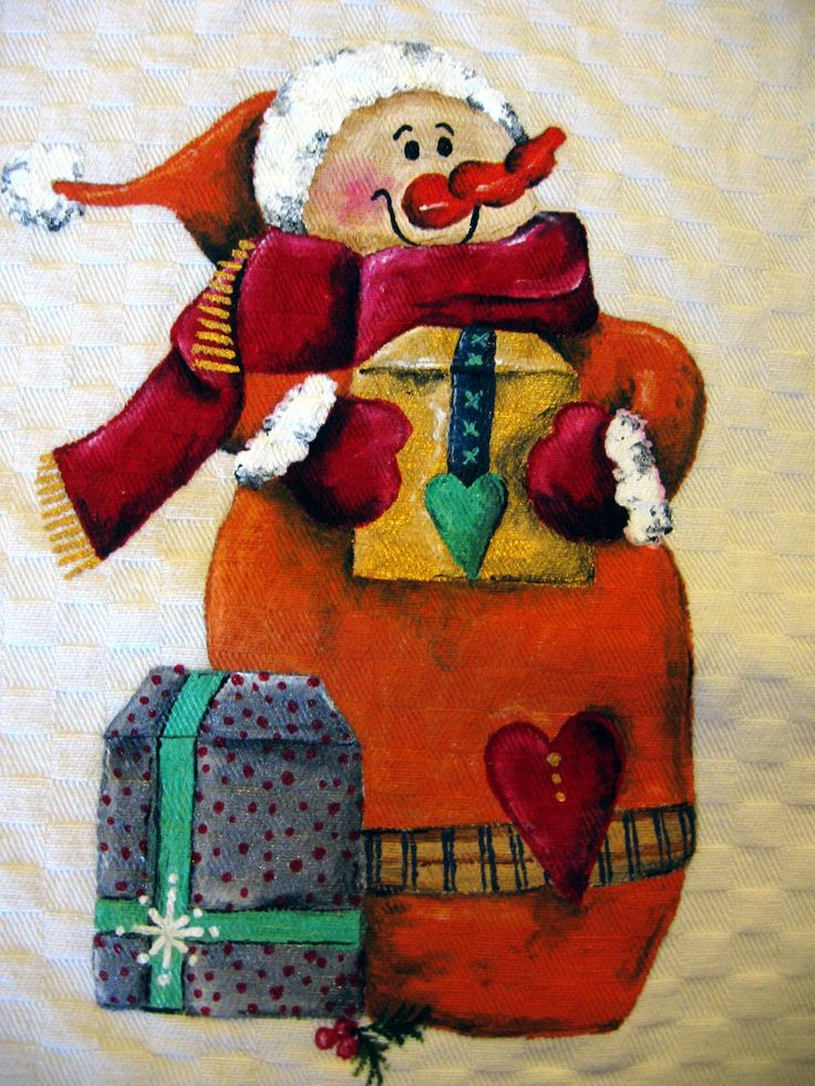Natale country painting - pupazzo di neve con pacchetti