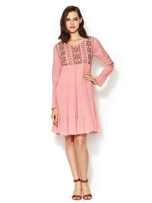 Antik Batik Cotton Embroidered Long Sleeve Dress