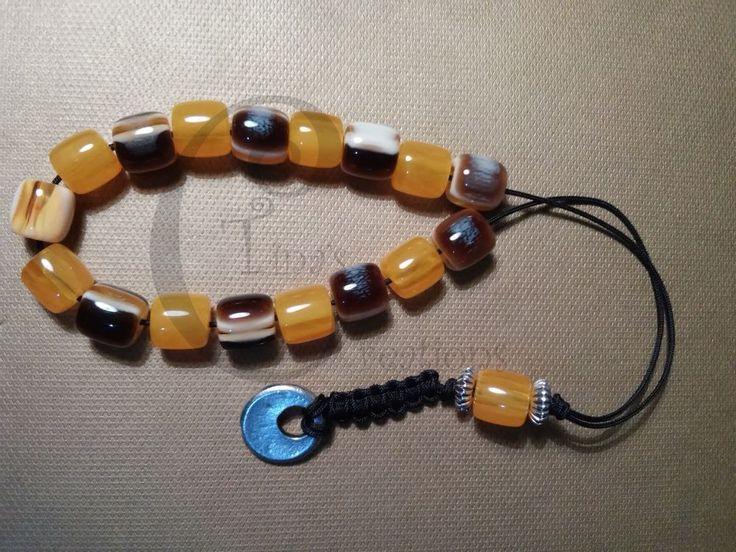 Greek Worry beads Komboloi acrylic orange brown 10mm bead tinas creations