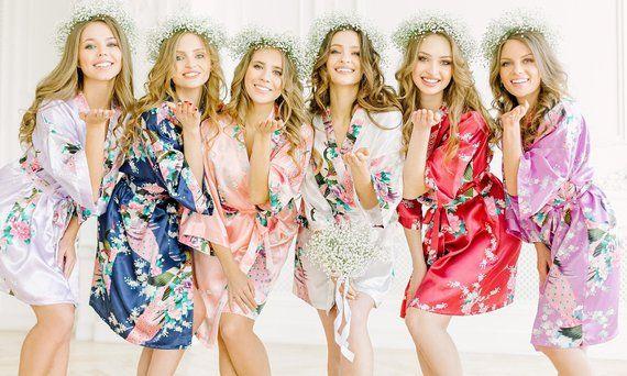 Bridesmaid Robe Lace Satin Robes Bridal Party Robes Satin Robe Bridesmaid Gift Bridal Party Gift Wedding Robe Kimono Silk Bridesmaid Robes