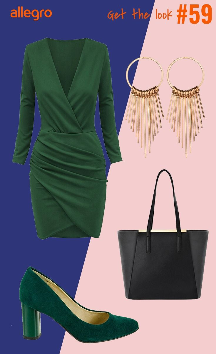 Zielona Sukienka Sukienka Z Dekoltem Kolczyki Wiszace Kolczyki Kola Pojemna Torebka Czolenka Fashion Moda Polyvore