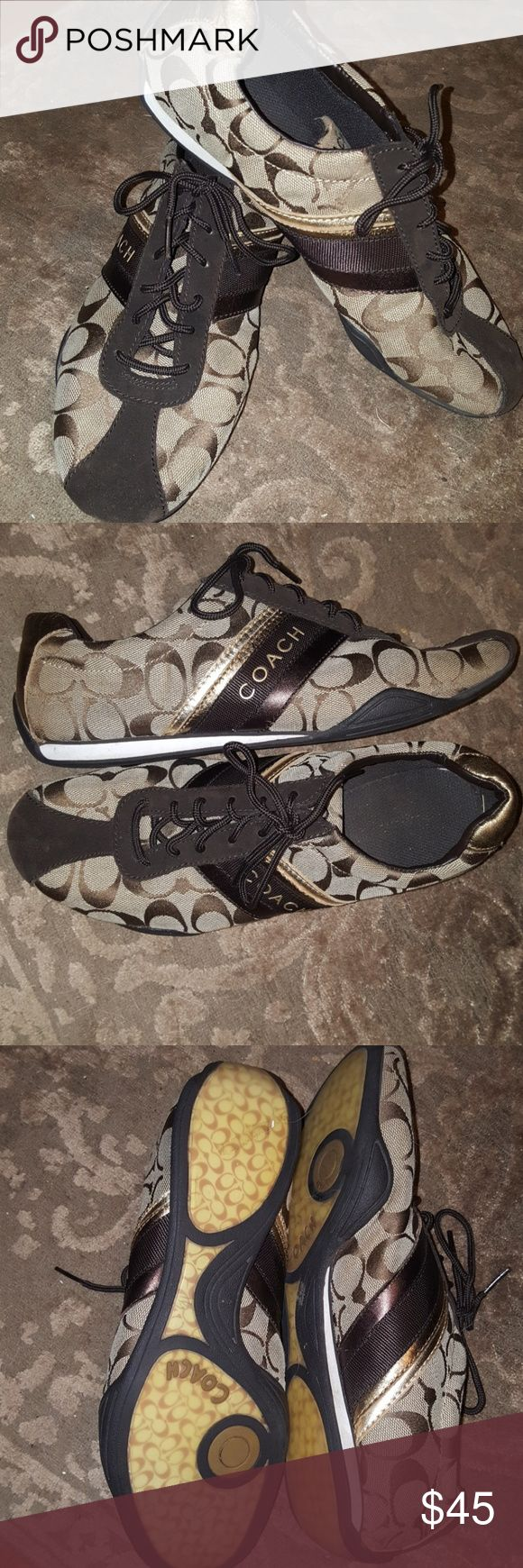DEALS OF TODAY! ☘ BROWN COACH TENNIS SHOES Gently worn brown Coach tennis shoes with gold, bronze and brown accents. Coach Shoes Sneakers