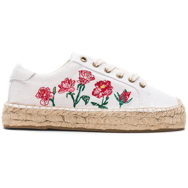 Soludos Rose Platform Tennis Sneaker found on Polyvore featuring shoes, sneakers, flats, flat shoes, embroidered sneakers, platform sneakers, flat platform shoes and laced flats