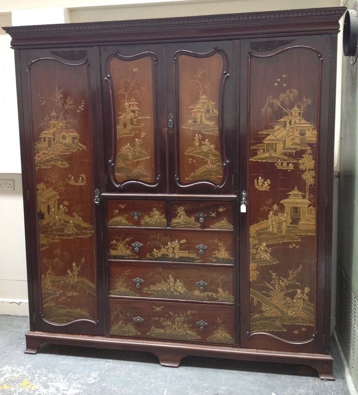 We have for a sale a lovely chinoiserie lacquered triple wardrobe. This wardrobe has full length hanging rails with shelf above. This wardrobe has a lot of charm. This wardrobe breaks down into. | eBay!
