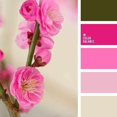 beige y rosado, carmesí vivo, color fucsia, colores de la primavera, combinación de colores para primavera, frambuesa, frambuesa y verde, paleta de colores para primavera, rosado y beige, rosado y verde, tonos rosados, verde oscuro, verde y carmesí, verde y rosado.