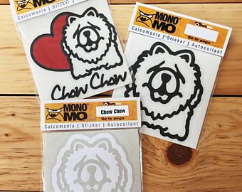 Sticker Decal Three Pack Chow Chow Dog for laptop and car, Chow Chow Dog sticker decal, Black white and red heart sticker decal.