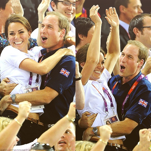 The Duke & Duchess of Cambridge, Prince William and Kate Middleton celebratingGreat Britain's win in the Men's Team Sprint Track Cycling final at the 2012 London Olympic Games on August 2, 2012    I LOVE THESE PICTURES SOOO MUCH!!!