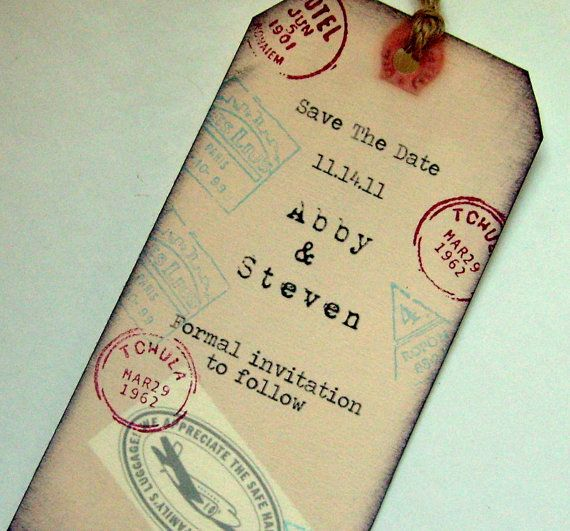 Save the date rustic travel wedding rustic luggage by 0namesleft, $21.00