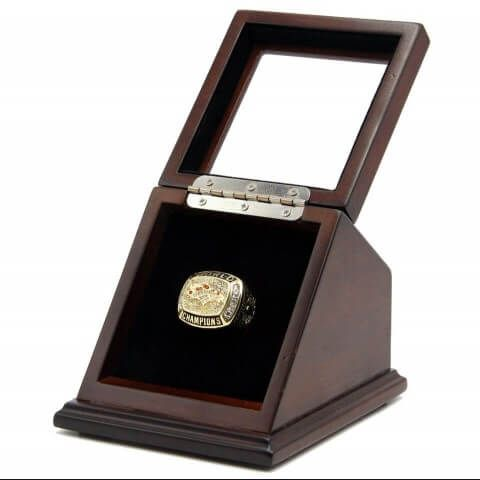 The 1997 Championship ring would be a unique and a great gift to your friends and families, for most of the Denver Broncos fans, it is a truly one of a kind item that would stand out in any Denver Broncos football collection. With a beautiful wooden display case with slanted glass window to make the rings display with pride.
