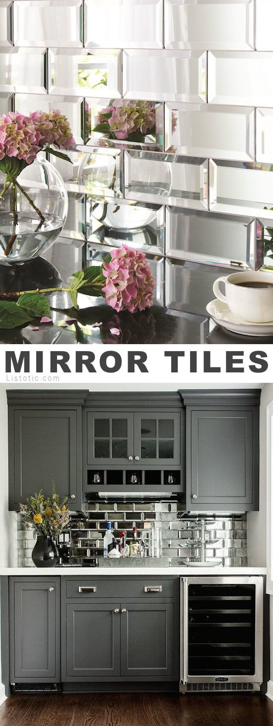 Mirrored tile!? I LOVE it! Lots of creative tile ideas for kitchen back splashes, master bathrooms, small bathrooms, patios, tub surrounds, or any room of the house!