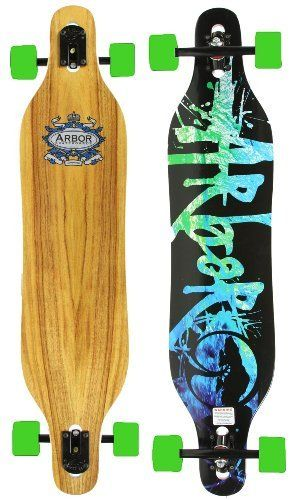"""Arbor Axis Koa Complete Longboard Skateboard by Arbor. $179.95. 70mm 83a Solid Neon Green Pro Longboard Wheels. Arbor Longboard Deck - Measures 42""""L x 8.75""""W x 32""""WB. 180mm ProRide Black Reverse Kingpin Longboard Trucks. Comes Completely Assembled and Ready to Ride!. Clear Grip Tape Applied by Arbor, Oilded Abec 5 Bearings. Comes Completely Assembled and Ready to Ride!  Arbor's most advanced Freeride design - a fiberglass reinforced, drop-through that's built to deliver h..."""