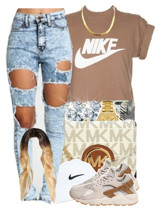 """"" by yeauxbriana on Polyvore featuring NIKE, Lacoste and Michael Kors"
