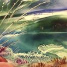 A Day at the Beach, an encaustic painting