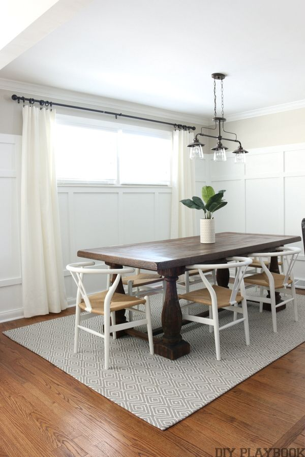 B 39 s dining room reveal paint colors chairs and neutral for Neutral dining room colors