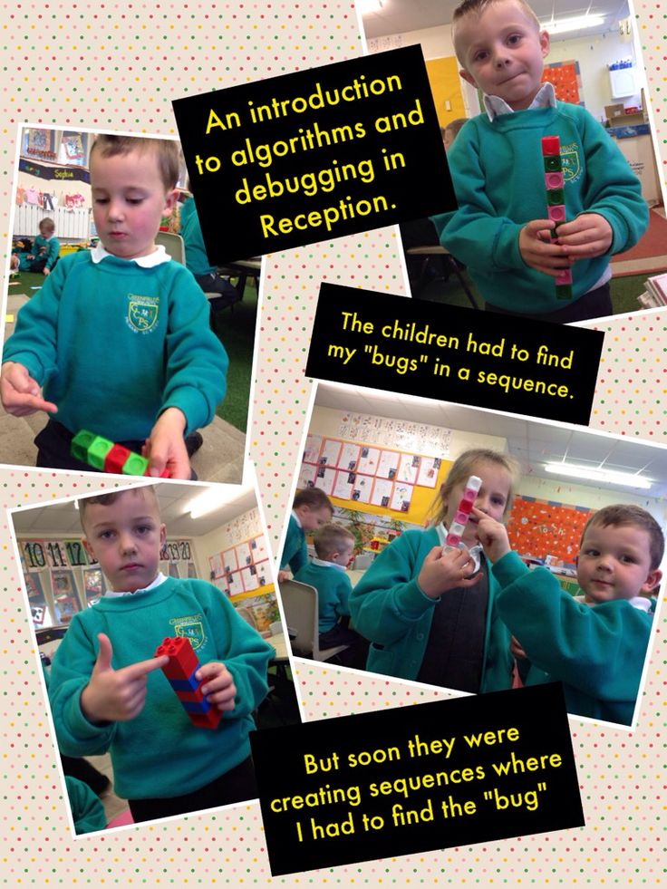 Introducing algorithms and debugging to Reception class using repeating patterns.