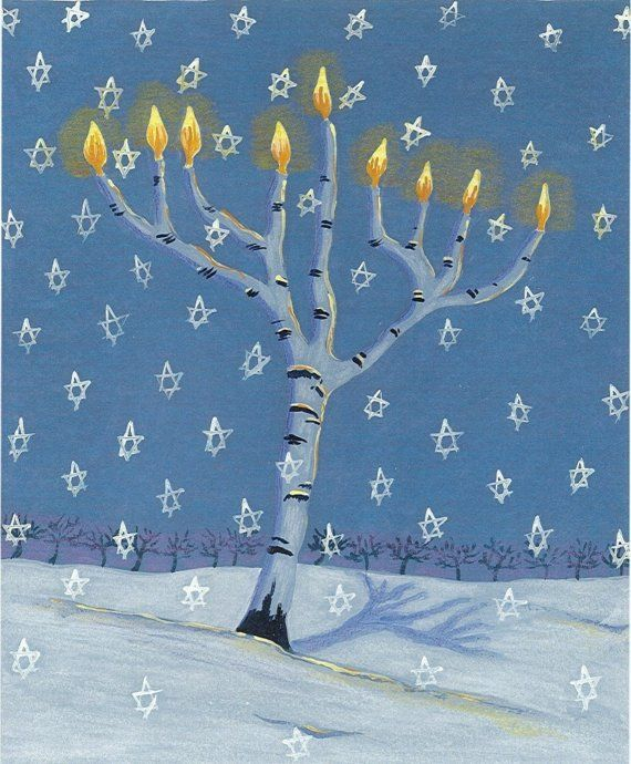 Tree of Light Menorah notecard Hannukah