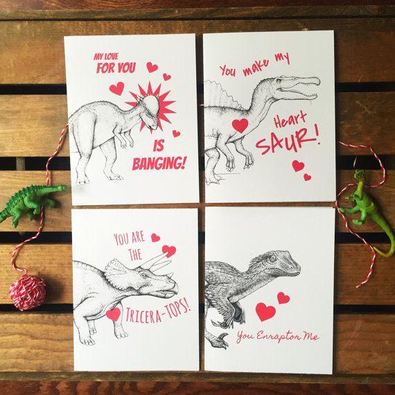 Dinosaur Valentine Set. Nerdy Valentines. Set of Valentines 4 . Geeky Valentines. Funny Valentines. Cute Valentines. Science Valentines. Pun