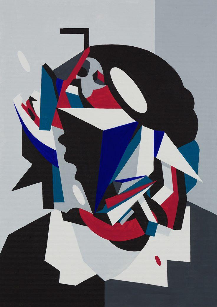 "Tobias Kroeger, ""Near Dark"" Acrylic on Paper, 2016, 20x30cm - Cubist, Contemporary, Art, Painting, Geometric, Portrait"